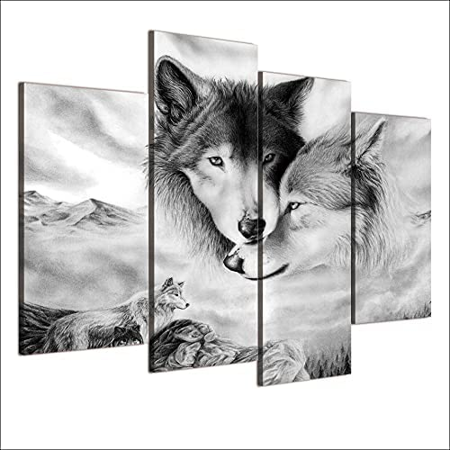 European retro black and white f painting family Charlotte Mall decorative wolf Cheap mail order sales