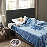 Woolrich Heated Plush to Berber Electric Blanket Throw Ultra Soft Knitted, Super Warm and Snuggly Cozy with Auto Shut Off and Multi Heat Level Setting Controllers, King: 100x90, Sapphire