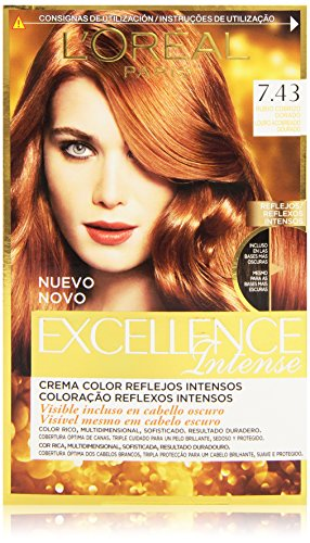 L'Oreal Paris Excellence Intense Coloración, Tono: 7,43 Rubio Cobrizo Dorado - 200 g