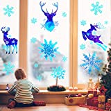 Lulu Home Christmas Decorations, 93 PCS Xmas Reindeer and Snowflake Window Stickers for Christmas, Christmas Window Clings with Shining Glitter Powder