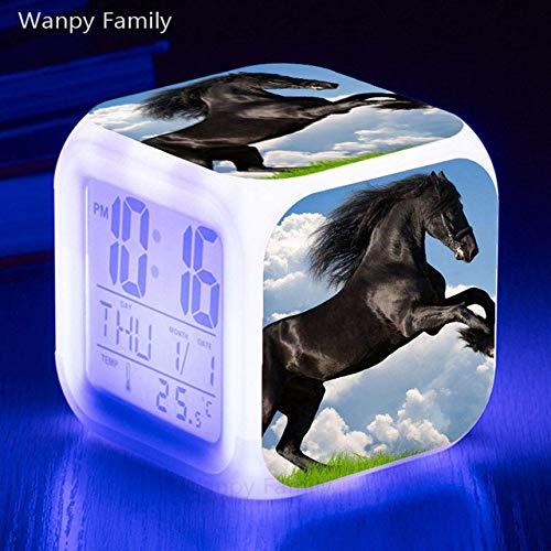 Zhuhuimin vrijlopende paard-wekker, 7 kleuren, lichtgevende leds, multifunctionele digitale wekker, om kinderen te sturen
