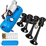 VEVOR Train Horn Kit 4 Trumpet 12V Train Air Horn 150db Truck Loudest Horn, with 1.5 Gal Tank 150 PSI Air Compressor for Truck Complete Kit and Blaster Train Horn Kit for Truck, Car and Motocycle