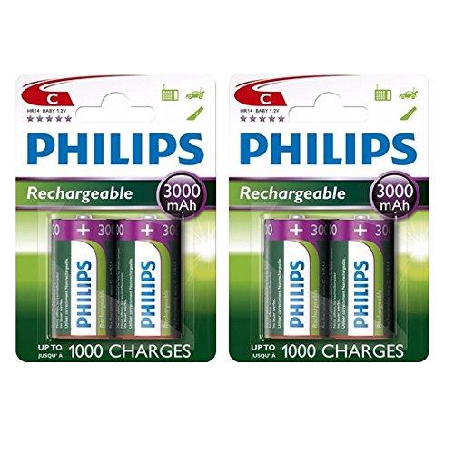 4 x Philips Größe C 3000 mAh wiederaufladbare Ni-MH HR14 LR14 MN1400 Batterien