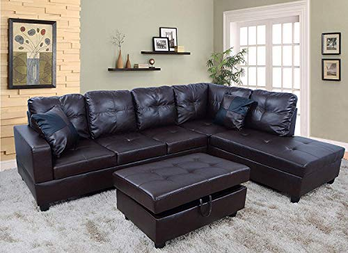 3-Piece Urbania Right Hand Facing Sectional Sofa Set Living Room Couch, Dark Chocolate
