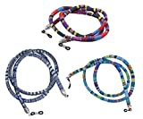 Sopaila 3-Pack Cotton Striped National Style Eyeglass Chain Holder Necklace Sunglasses Strap Cords