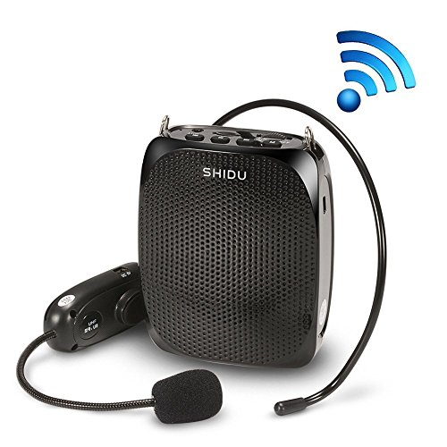 Voice Amplifier, SHIDU Wireless Voice Amplifier 10W Rechargeable Portable PA System Speaker with UHF Wireless Microphone Headset Support MP3 Play for Teachers, Yoga, Tour Guides,Trainers (S615)