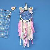 Atrapasueños de unicornio decoración de la pared atrapasueños de plumas de colores hecho a mano colgante de pared niñas niños decoración del dormitorio