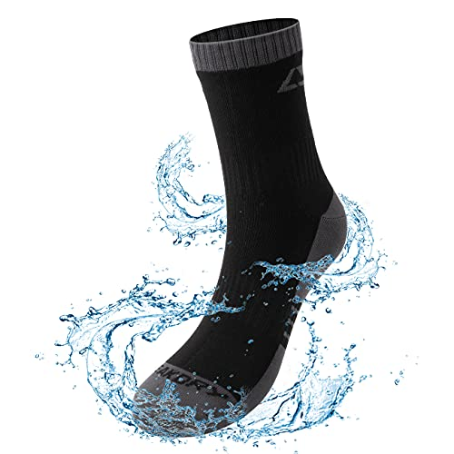 LEAKDRY Waterproof Socks, Moisture Wicking Socks Breathable Waterproof for Cycling Running Hiking Socks Black Ankle Socks-Large