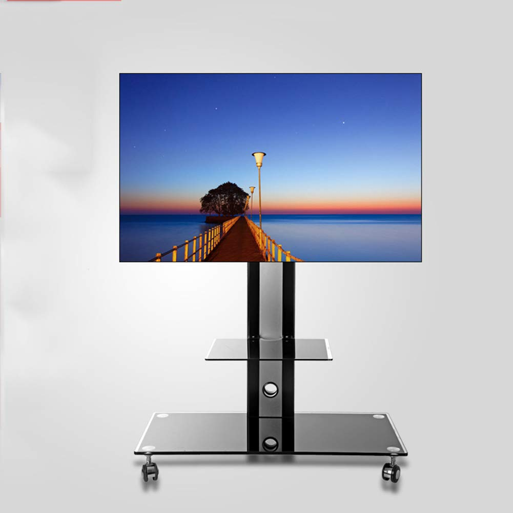 Soporte de TV con Ruedas para televisores de 32 a 50 Pulgadas (Cristal Templado, Altura Regulable), Color Negro: Amazon.es: Hogar