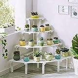 SHBV Soporte para Plantas Estantes para jardín Soporte para macetas de Madera Blanco 4 Niveles Estante de exhibición de Flores Pedestal de Esquina Estable para Sala de Estar Estantes para Plantas
