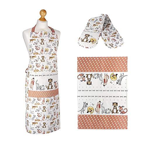 3er Set Hund Abtrockentücher Küche Küchentücher Baumwolle, Küchenschürze und doppelter Ofenhandschuhe Hitzebestaendig Hundemotiv, Geschenk für Kochen Frau Männer Hundeliebhaber