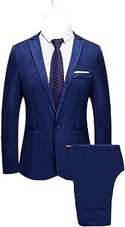 Bibao traje de 2 piezas para hombre, ajustado, con botones, para boda, cena, esmoquin, para hombre, negocios, casual, chaqueta y pantalones, 8 colores disponibles, azul marino
