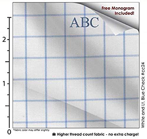White and Lt. Blue Check #cc24, 100% Cotton Men's Monogrammed Custom Dress Shirt.