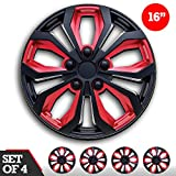 16 inch Hubcaps Black & Red SPA 16' Easy to Install (Set of 4) (Classic Black & Red, 16)