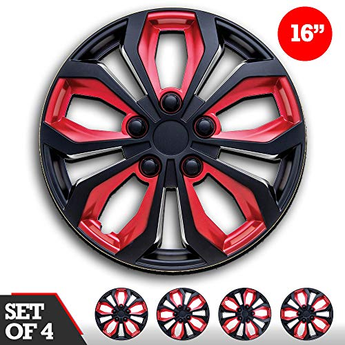 """16 inch Hubcaps Black & Red SPA 16"""" Easy to Install (Set of 4) (Classic Black & Red, 16)"""