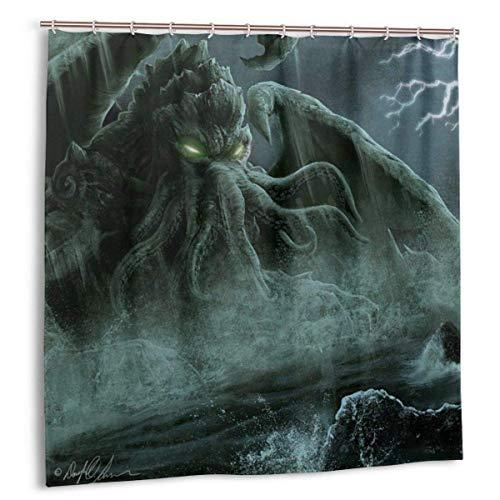 Hotyle Duschvorhang Cthulhu Monster Fantasy Art Langlebige Badezimmervorhänge Dekor Set 120 x 180 cm