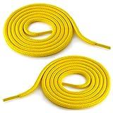 Ganzoo Cordones Redondos para Zapatos - Cinta de cordones para el Botas de trabajo [Amarillo - Talla única]