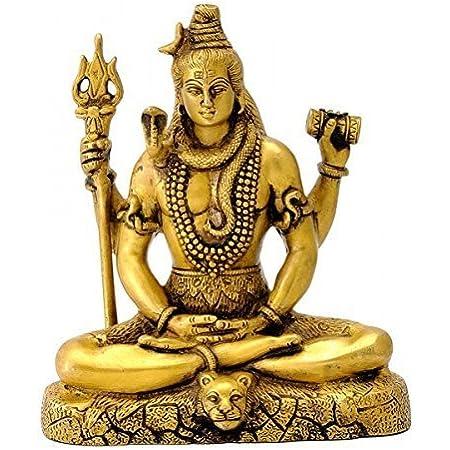 Fasherati Dieu Hindou Lord Shiva Statue en Laiton de m/éditation