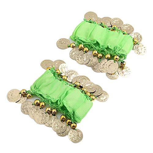Bauchtanz Handgelenk Handkette Manschette Armband Mit Goldfarbenen Münzen Blassgrün Eine Größe