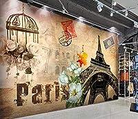 写真の壁紙3Dノスタルジックパリタワーヨーロッパとアメリカの油絵の背景壁リビングルームソファテレビ壁ベッドルーム-150x120cm