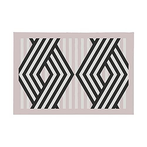 Estera De Mesa Simple con Borde Negro Rosa, Mantel De Patrón De Impresión Irregular Geométrico, Adecuado para Hotel, Restaurante, Cafetería