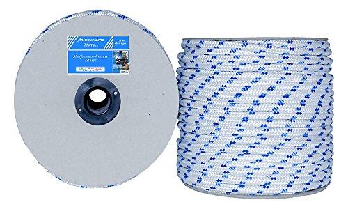 Antica Corderia Marra - Treccia Nautica mm 10, 50 m, bianca con segnalino azzurro