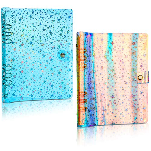 2 Pieces 6 Ring Binder Cover PVC Soft Stars Rainbow Notebook Cover Colorful Clear Refillable Notebook Shell Protector Snap Button Closure, Inner Paper Not Included (Holographic Color and Blue, A5)