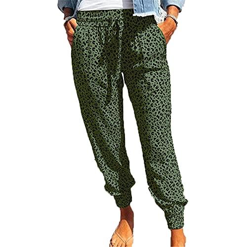 Pantalones Delgados con Estampado De Leopardo Pantalones Casuales De Verano para Mujer