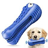 Dog Chew Toys for Aggressive Chewers Large Breed,RexSoul Rubber Dog Toothbrush & Squeaky Chew Toys,Reduces Plaque & Tartar Teeth Cleaning Pet Toys, Tough Tear-Resistant Crocodile Shape Dog Toys