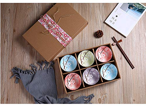 ELUPA 13.5 Fl Oz Porcelain Mixed Colour Patterned Bowls, Cute Snack Bowls for Ice Cream, Miso Soup, Rice, Side Dishes or Condiments. Lightweight, Set of 6 Bowls with Chopsticks