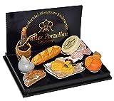 Unbekannt Set: Miniatur französicher Käse und Wein - für Puppenstube - Maßstab 1:12 Porzellan /...