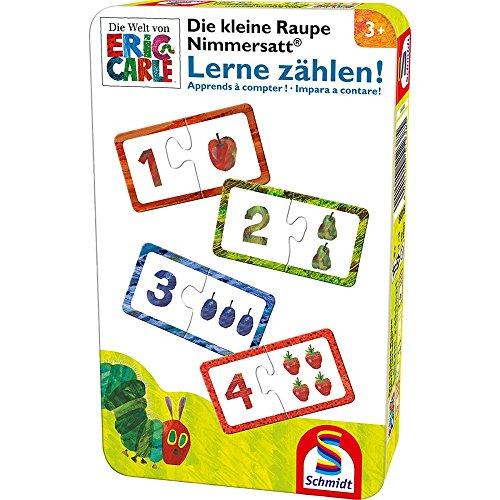 Schmidt Spiele 51238 Kleine Raupe Nimmersatt, Lerne zählen, Reisespiel in der Metalldose, bunt