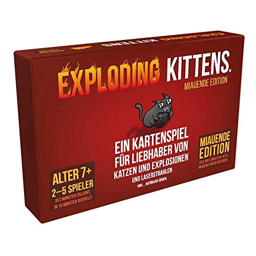 Asmodee DE EXKD0003 Exploding Kittens - Miauende Edition, Kartenspiel, Partyspiel, Deutsch