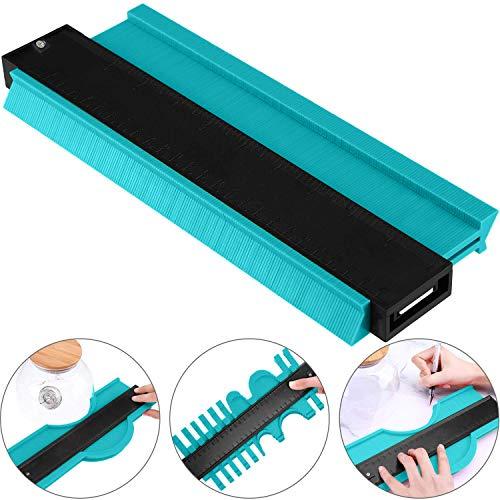 Contour Gauge Duplicator, CETECK 250MM Medidor Contornos Ideal para Azulejos Edge Shaping Madera Medida & Azulejos laminados (250mm, Verde)