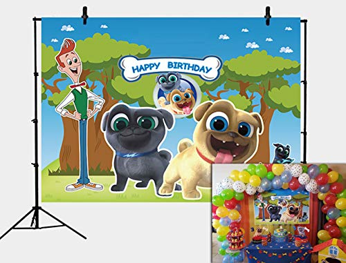 GYA 5x3ft Puppy Dog Pals Birthday Party Supplies Backdrop Boys Kids Happy Birthday Photography Background Cake Table Decorations Banner Baby Shower Photo Studio Booth Props