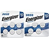 Energizer CR2032 Batteries, 3V Lithium Coin Cell 2032 Watch Battery (10 Count)