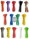 djb - Bridas profesionales de alta calidad (1400 unidades, varios colores, calidad industrial, pequeñas, cortas, 100 x 2,5 mm, longitud 100 mm, 10 cm), varios colores