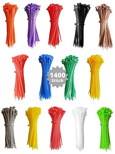 djb, extra hochwertige Profi Kabelbinder bunt, 1400 Stück, Set, farbig, mehrfarbig, viele Farben, Industrie-Qualität, klein, kurz, 100 x 2,5 mm, Länge 100mm, 10cm, Sortiment
