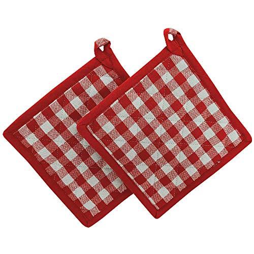 KUTEX Set di 2 presine da Cucina per Cottura Cucina in 100% Cotone Quadri (Quadri Rossi, 2)