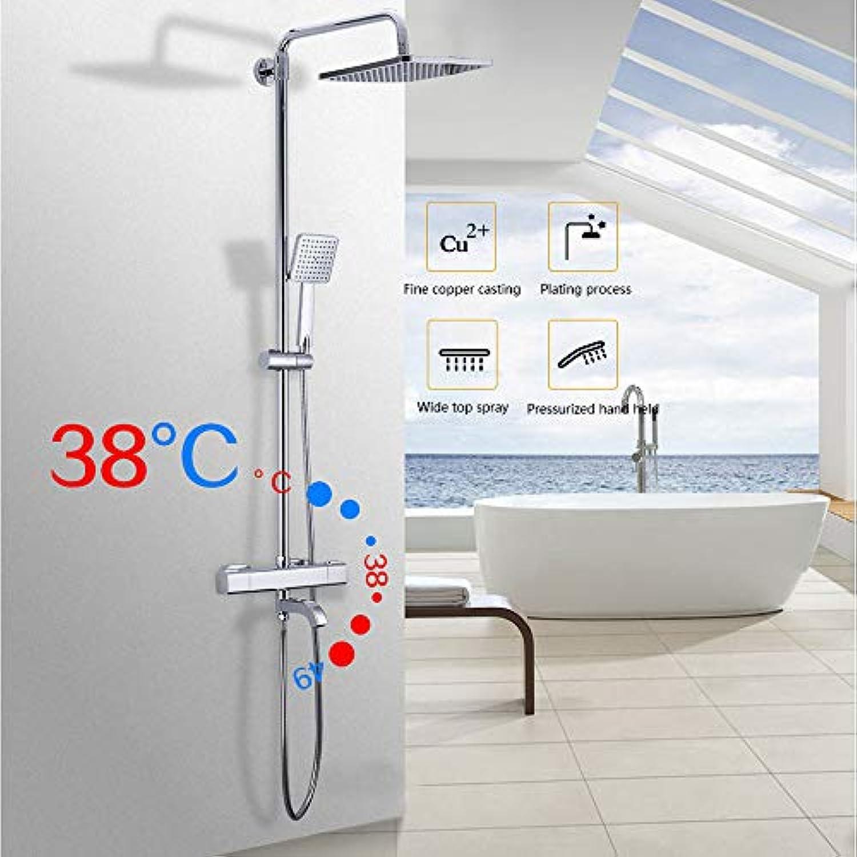 GJR-HS Duschhahn-Bad Duschkabine Wand montiert thermostatische Badewanne Wasserfall-Duschkpfe Chrom-Mixer Wasserhahn