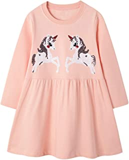 HOMAGIC2WE Toddler Girls Long Sleeve Dress Casual Cotton Dresses Cute Applique Stripe Outfit