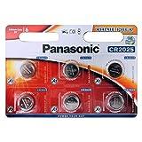 Panasonic - Juego de 6 Pilas de Litio CR2025 de 3 V (3 V)
