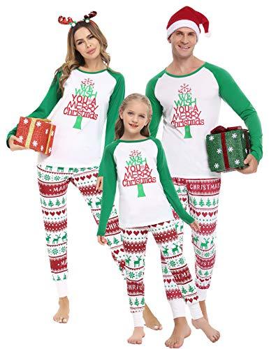 Irevial Weihnachten Schlafanzug Familie Langarm Pyjama Set Nachthemd Nachtwäsche Hausanzug für Fun-Nachtwäsche Familie Herren Damen Kinder