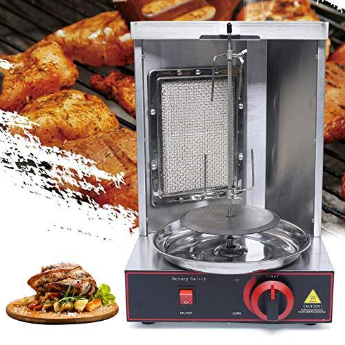 Vertikalgrill - Dönergrill, Hähnchengrill, Gyrosgrill, Drehgrill mit Drehspieß, Gas Doner Kebab Machine für zu Hause(360° Hitzeverteilung,Edelstahl,LPG)