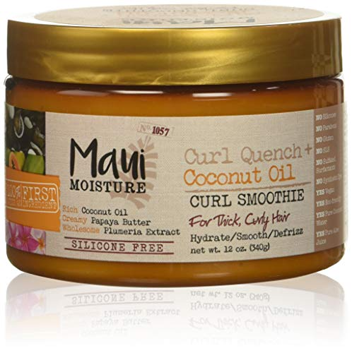 Maui Moisture Curl Quench + Coconut Oil Hydrating Curl Smoothie, Creamy Silicone-Free Styling Cream for Tight Curls, Braids, Twist-Outs & Wash-&-Go Styles, Vegan & Paraben-Free, 12 fl oz