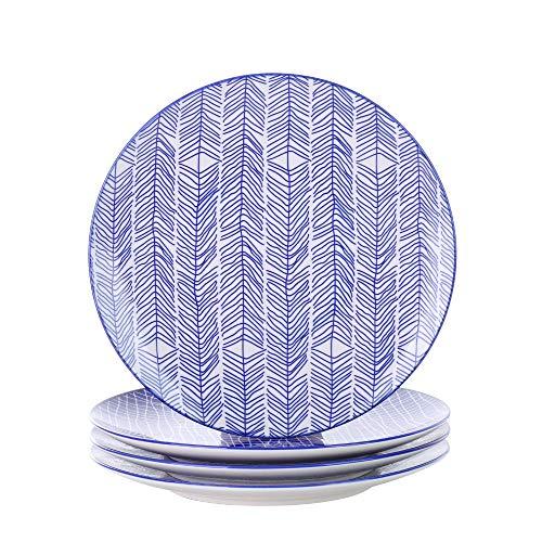 Vancasso Takaki Plato plano de 4 piezas de porcelana, Ø 27 cm Plato grande para cenar, juego de platos