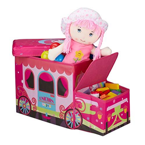 Relaxdays Sitzbox Kinder, Staubox mit Deckel, Spielzeug, faltbar, Einhorn, Stauraum, Jungen & Mädchen, 50 Liter, pink