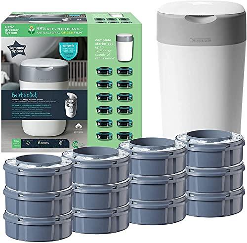 Tommee Tippee Twist and Click Advanced Windeleimer Starter Set, Umweltfreundliches System mit 12x Nachfüllkassetten mit nachhaltig gewonnener antibakterieller Grünfolie, Weiß