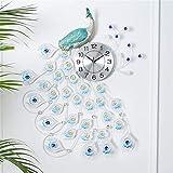 LXYZ Reloj de Pared Grande Relojes de Pavo Real Sala de Estar Silencio Relojes de Pared de Cuarzo 3D Arte de Hierro Reloj de precisión de Tiempo Estable de Cristal Decoraciones de Oficina en casa