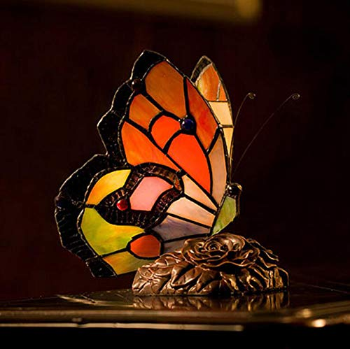 XCUGK Lámpara De Escritorio Estilo Tiffany, Lampara Escritorio Mariposa Vintage Lámpara De Mesa Salón con Interruptor de botón para mesita de Noche Sala de Estar Dormitorio